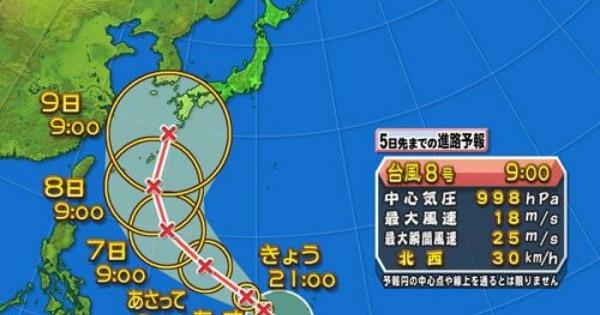 【速報&進路予想図】台風8号「ノグリー(たぬき)」発生!!8日、9日注意