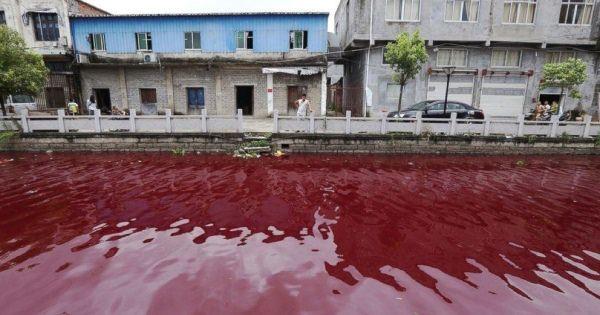 【こわい】中国・温州市の河川がいきなり血の色に