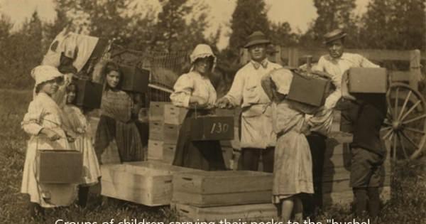 1900年代のアメリカ。法律が出来るまで働いていた子供達の写真だが、