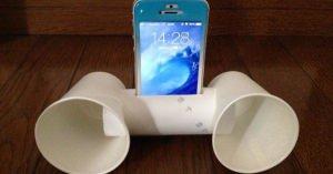 【夏休みの工作】トイレットペーパーの芯と紙コップ2個だけでiPhone用スピーカシステムを作る方法
