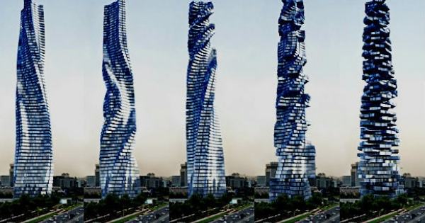 グニャグニャと変形するあまりにも奇妙な超高層ビル。面白い!