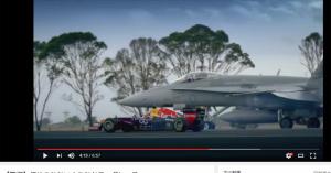 戦闘機とF1、スーパーカーが競う!夢みたいな実レース動画