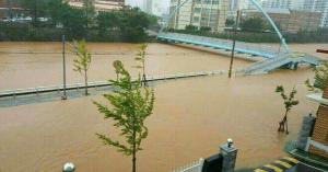 大雨の影響で韓国 釜山の道路が冠水