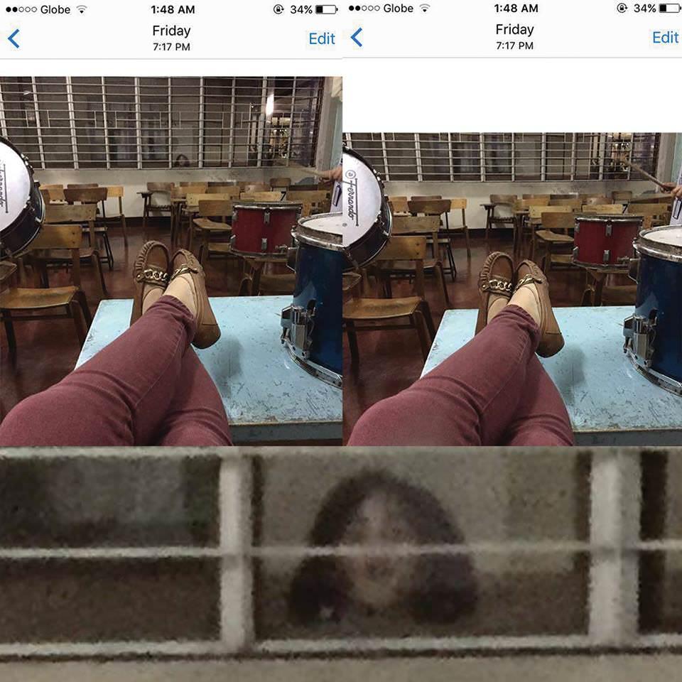 夜遅くに女子大生が学校で撮影した写真に生首が…