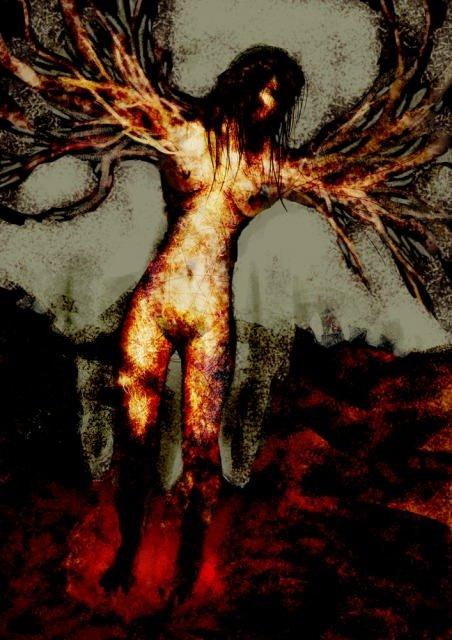 手が木になっている女性の画