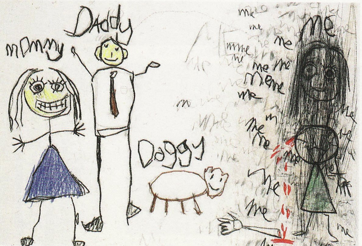 子供が描いた怖い家族の画