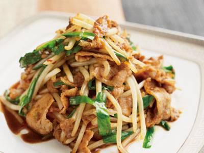 陳 建一さんのもやしと豚バラと油揚げのピリ辛炒め レシピ