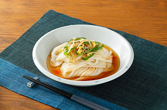 【ヤマキ】ピーマンと大豆もやしの中華風ぶっかけ麺