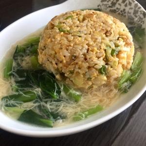 帆立缶の出汁で✳︎帆立と小松菜のあんかけチャーハン
