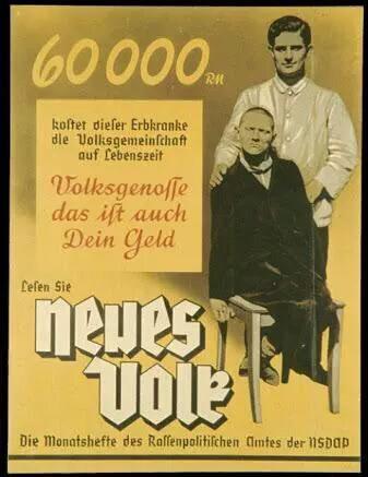 ナチの優生保護により、劣勢とされる身体に障害のある人々に対し、憎悪と侮蔑と差別に誘導したポスター