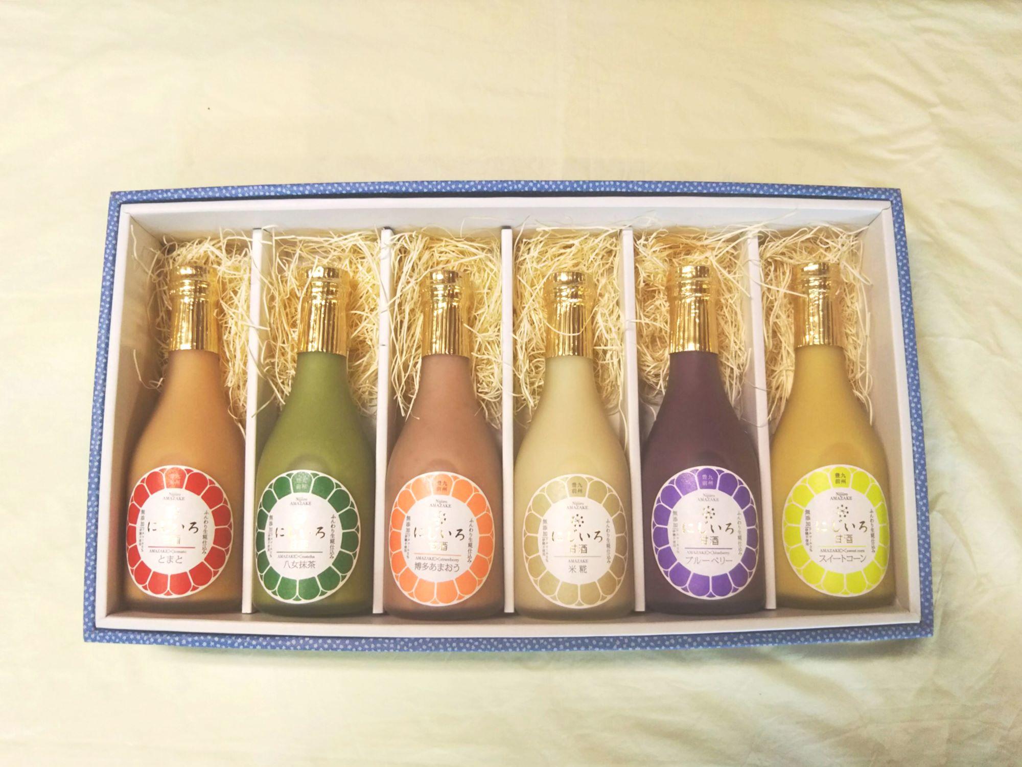 浦野醤油醸造元の夏季限定限定カラフルな6色ギフト(ブルーベリー・博多あまおう・とまと・スイートコーン・米糀・八女抹茶)