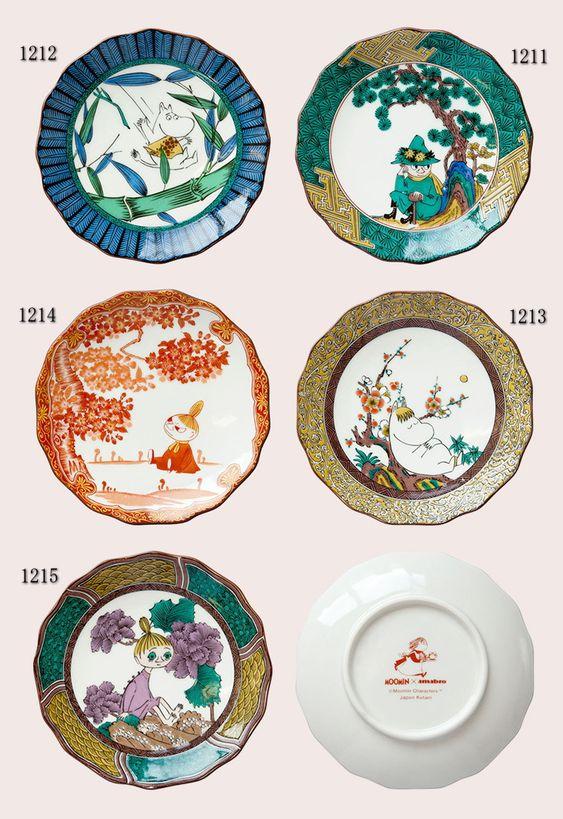 Moomin×amabro九谷焼皿 各1,944円 (税込)これ、お皿としても充分価値があると思います。お料理盛り付けたトコ想像してみるとかなり渋いよ。薄造りとか盛り込んだら面白そう☆