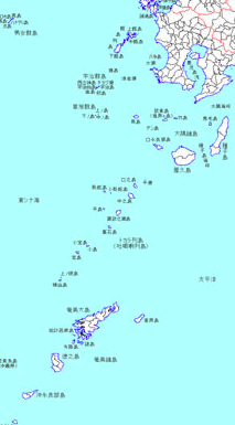 薩南諸島全体図。ほぼ中央部が「対馬丸」遭難海域