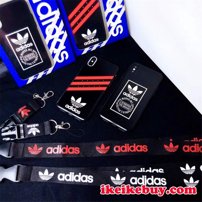 スポーツ風 Adidas ロゴ柄 三つ葉iPhoneX XSケース  オリジナル アディダスAdidas iPhonexs max/XR ペア ケースキーチェン付き Adidas iPhone8/7PLUS カバー カッコイイ アイフォン8PLUS携帯ケース