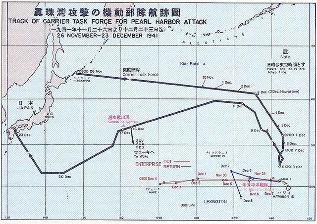 【真珠湾攻撃航路図】千島から北方航行ルート