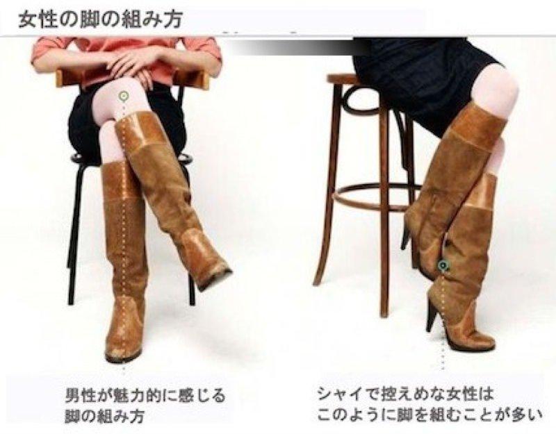 女性の脚の組み方でわかる相手の気持ち