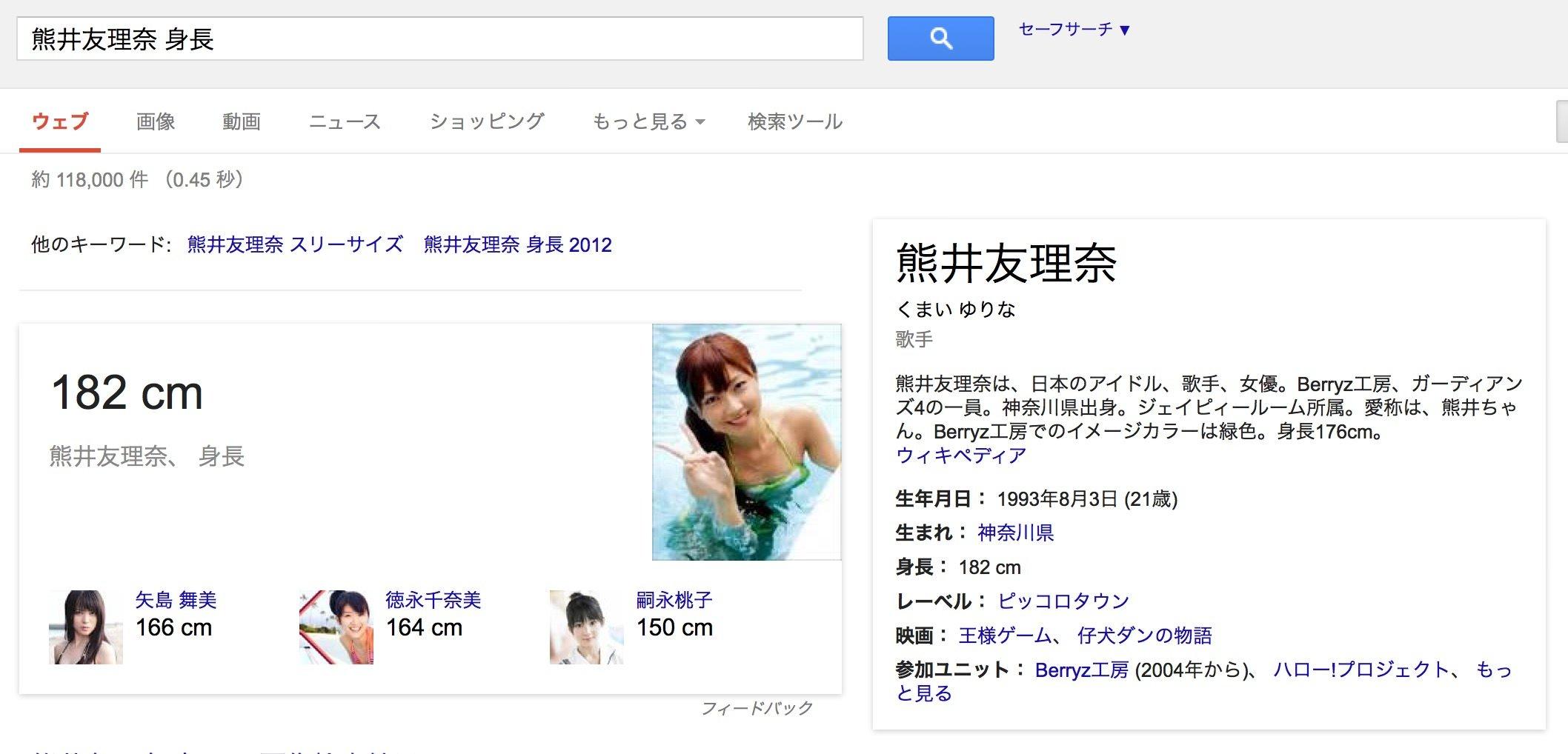 実際にGoogleで「熊井友理奈 身長」と検索すると182cmと答えてくれます
