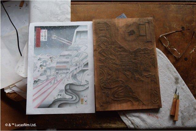 スター・ウォーズ浮世絵を作成する原画と作品