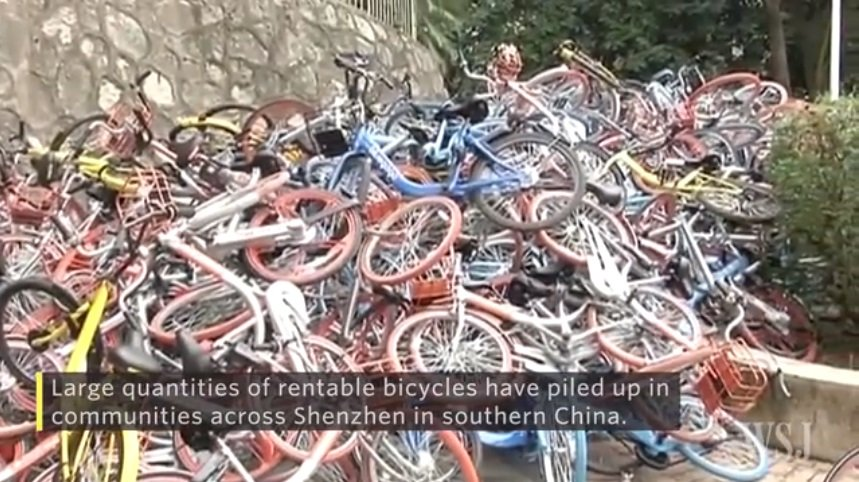 中国のシェア自転車、急増で「悲惨な運命」