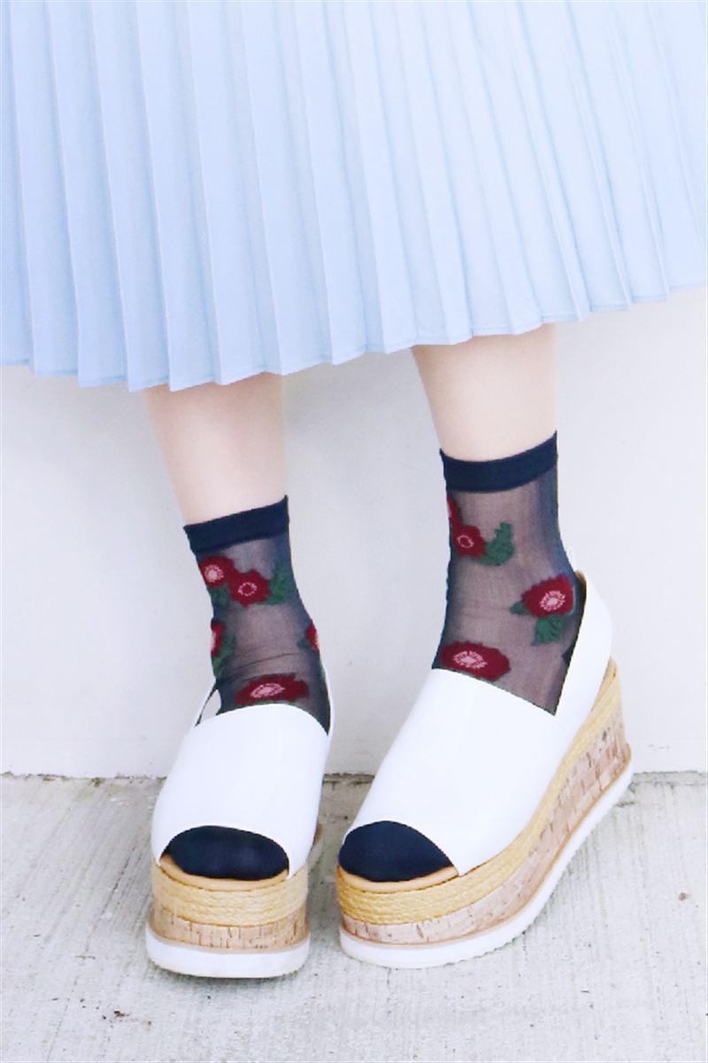 シースルー花柄ソックス16cm丈