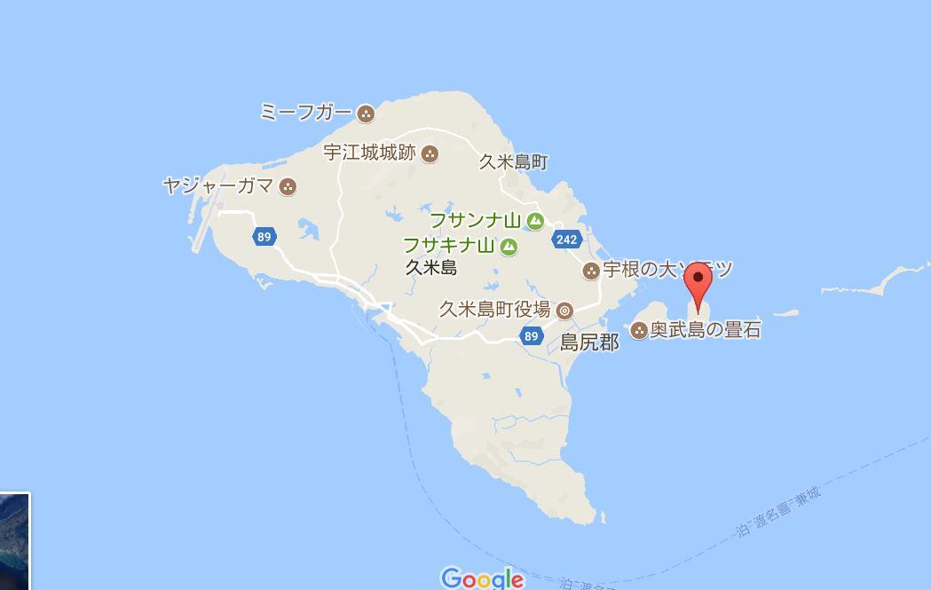 さらに久米島から東に1キロほどのところにあるオーハー島