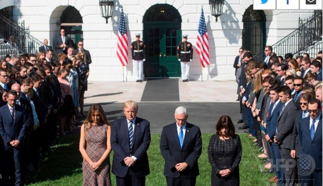 銃乱射事件の犠牲者に黙とうをささげるトランプ大統領