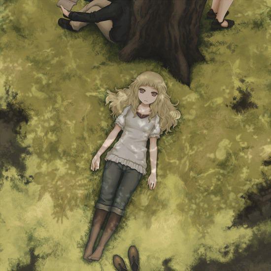 少女が寝転ぶアニメ画像