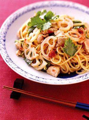 れんこんと豚肉の梅スパゲティ