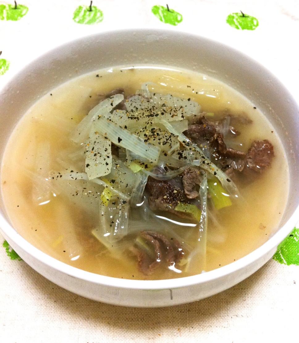 牛肉とネギのスープ【風邪予防にも】