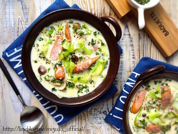 ♡チーズdeこく旨♡ソーセージとキャベツの豆乳スープ♡