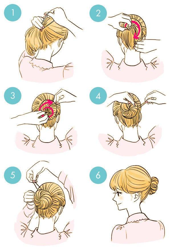 簡単まとめ髪 シニョン作り方